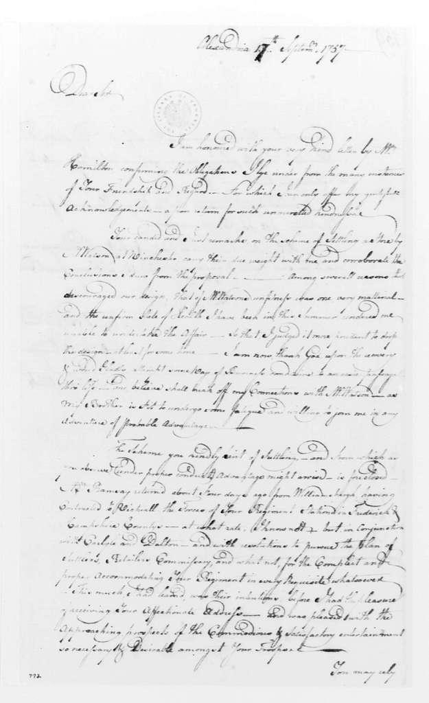 George Washington Papers, Series 4, General Correspondence: John Kirkpatrick to George Washington, September 17, 1757