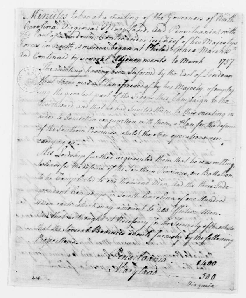 George Washington Papers, Series 4, General Correspondence: Provincial Governors Conference at Philadelphia, March 15, 1757, Minutes