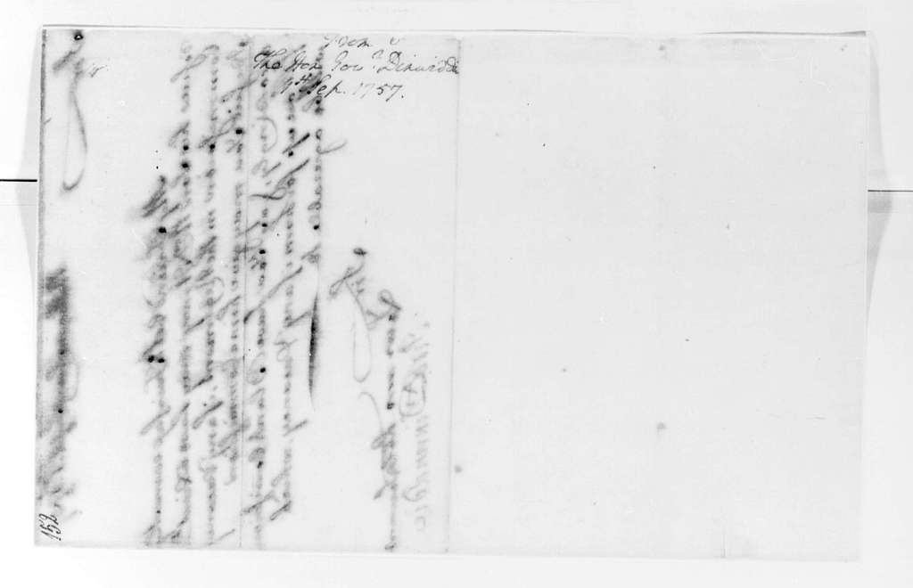 George Washington Papers, Series 4, General Correspondence: Robert Dinwiddie to George Washington, September 1, 1757