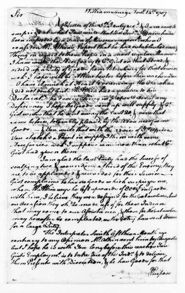 George Washington Papers, Series 4, General Correspondence: Robert Dinwiddie to George Washington, November 14, 1757