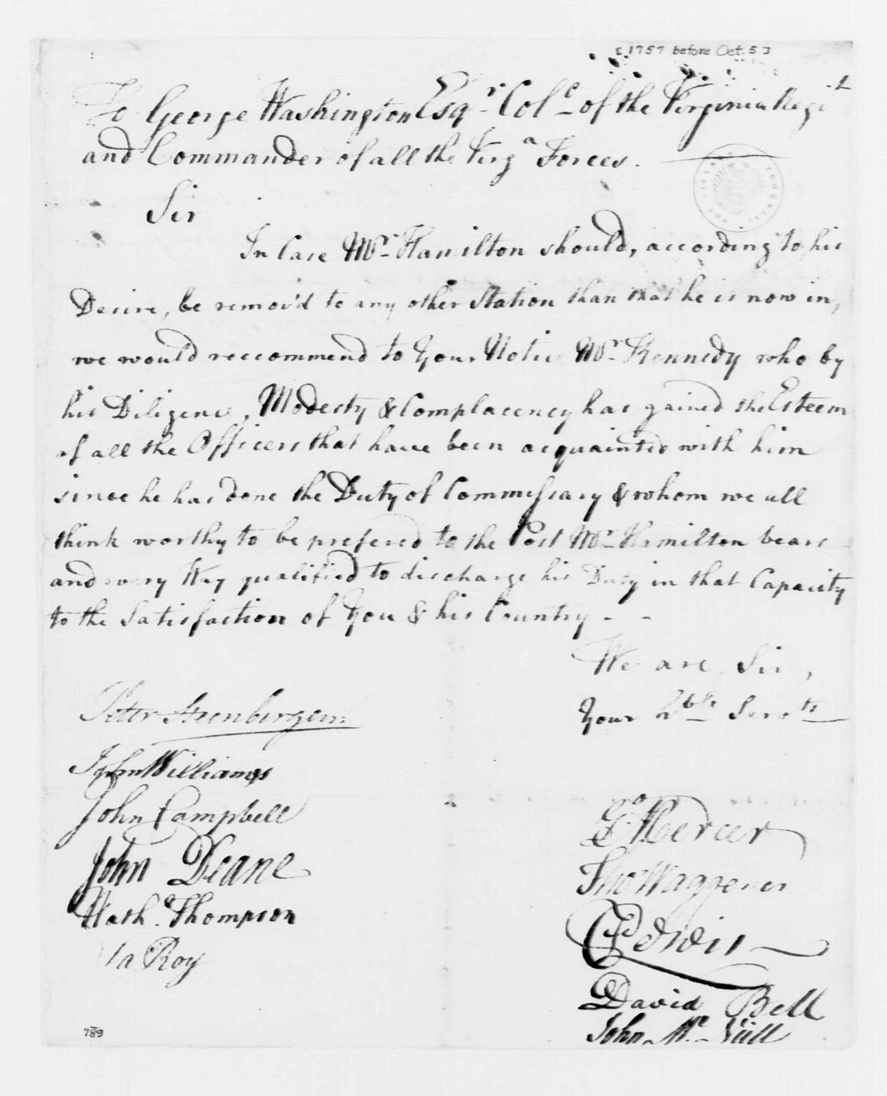 George Washington Papers, Series 4, General Correspondence: Virginia Regiment Officers to George Washington, October 5, 1757, Recommendation for David Kennedy