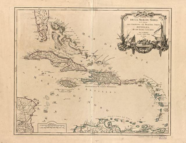 Partie de la mer du Nord, ou se trouvent les grandes et petites Isles Antilles, et les Isles Lucayes,