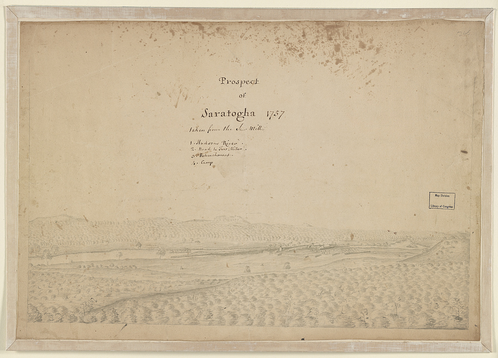 Prospect of Saratogha [i.e. Saratoga], 1757, taken from the saw mill 1. Hudsons River; 2. Road to Fort Miller; 3. Retrenchment; 4. Camp.