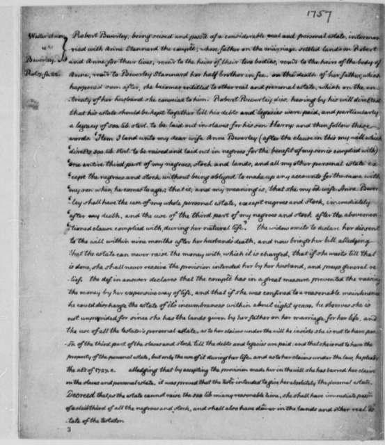 Waller, et ux, versus Beverley, 1757, Summary of Law Case