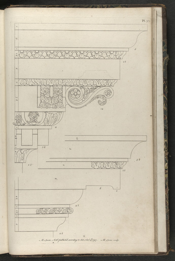 A collection of designs in architecture, containing new plans and elevations of houses, for general use. With a great variety of sections of rooms ... To which are added, curious designs of stone and timber bridges ... Likewise some screens and pavilions. In two volumes, each containing sixty plates ... engraved on copper.