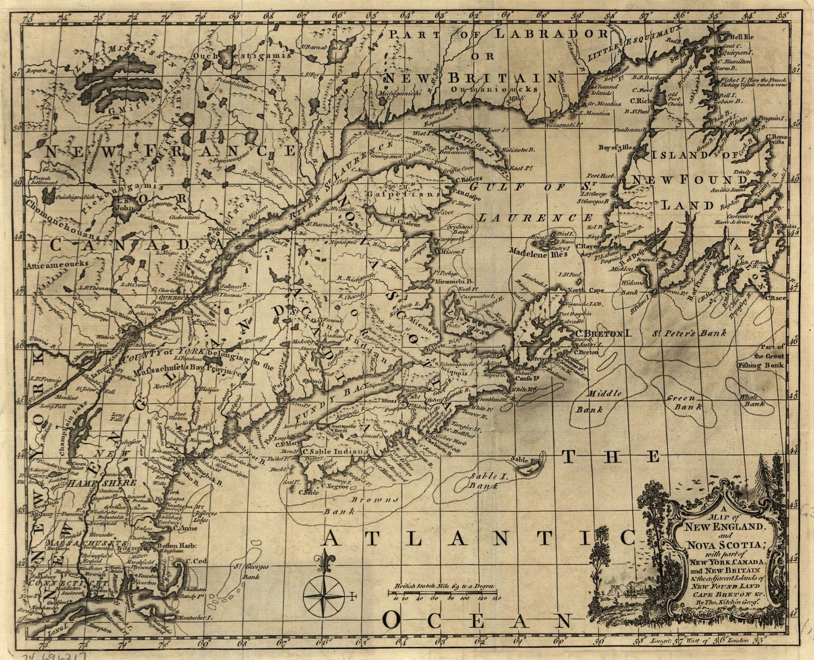 Map Of Nw England.A Map Of New England And Nova Scotia With Part Of New York Canada