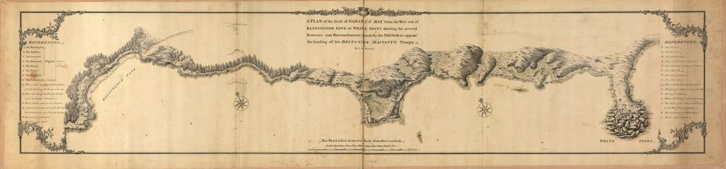 A plan of the coast of Gabarus Bay from the west end of Kennington Cove to White Point shewing the several batteries and retrenchments made by the French to oppose the landing of His Britanick Majesty's troops /