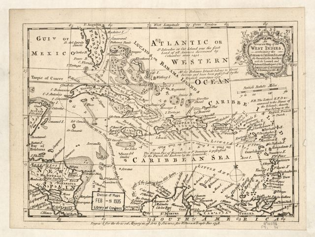 An accurate map of the West Indies containing the Bahama & Caribbe Islands, the Great & Little Antilles with the Leward and Windward Islands & part of the American continent /