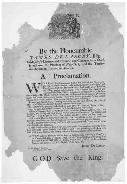 [Arms] By the Honourable James De Lancey, Esq; His Majesty's Lieutenant-Governor, and Commander in chief in and over the Province of New-York, and the territories depending thereon in America, A proclamation. Whereas this government, from a due