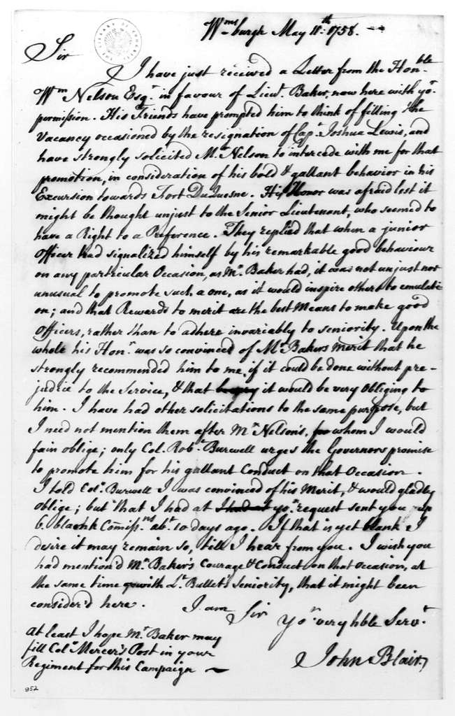George Washington Papers, Series 4, General Correspondence: John Blair to George Washington, May 11, 1758