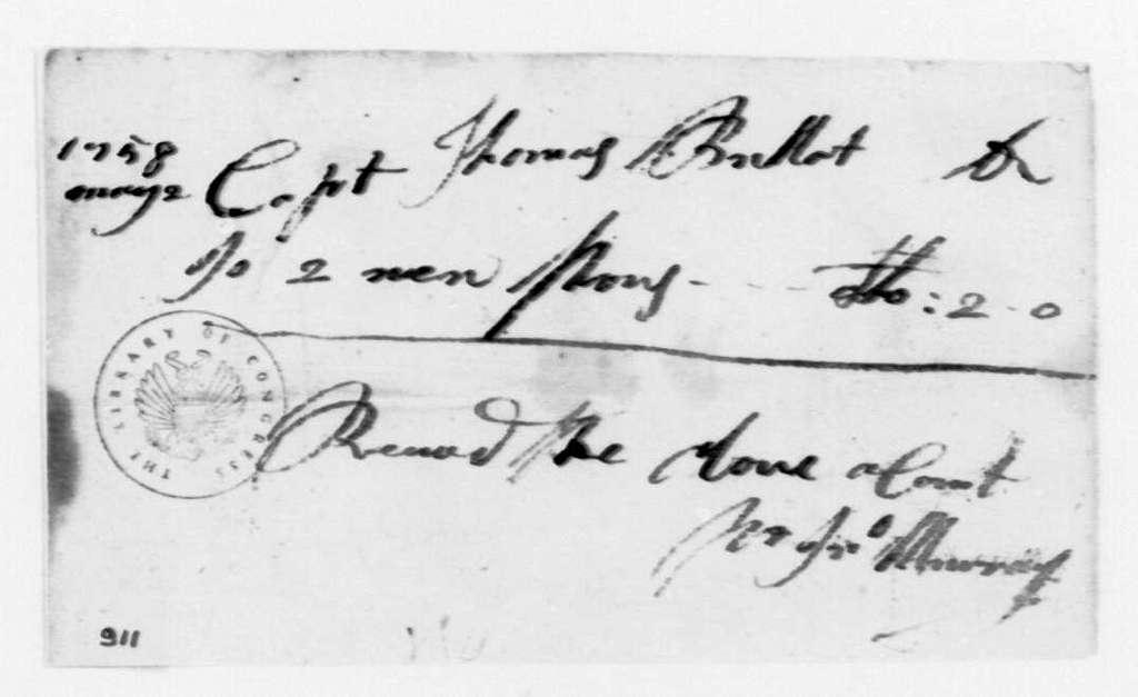 George Washington Papers, Series 4, General Correspondence: John Murray to Thomas Bullitt, May 2, 1758, Receipt
