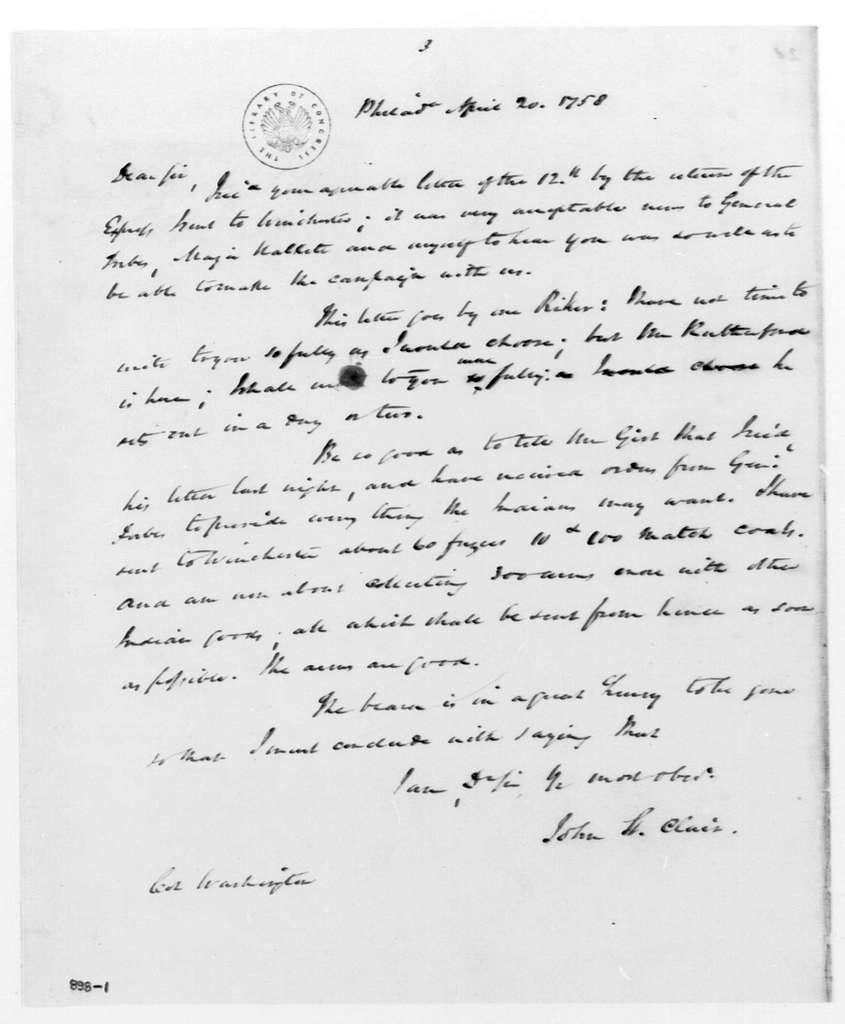 George Washington Papers, Series 4, General Correspondence: John St. Clair to George Washington, April 20, 1758, 19th-century transcription by William B. Sprague with original docket