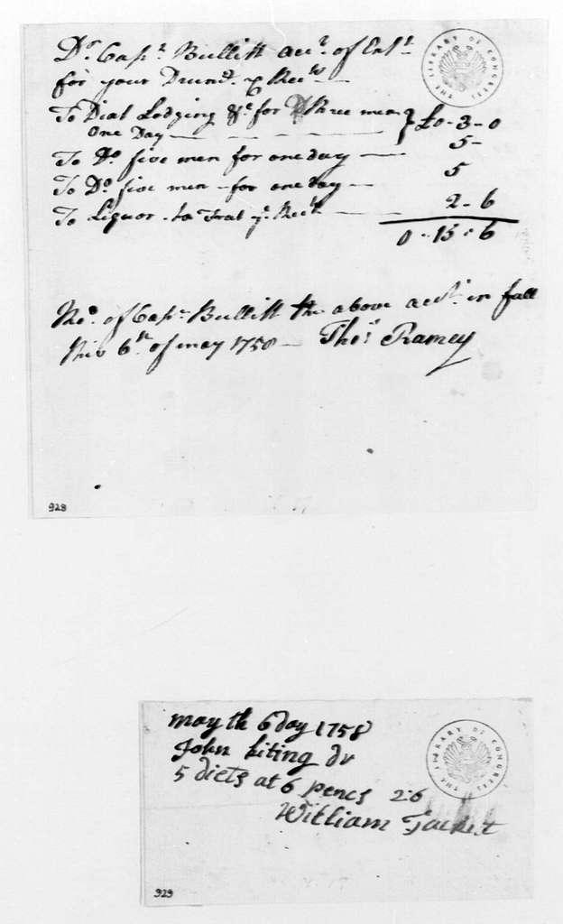 George Washington Papers, Series 4, General Correspondence: William Tackitt to John Keating, May 6, 1758, Bill