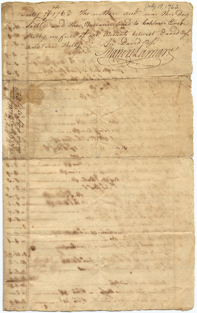 Invoice from David Ross to Evan Shelby with receipt
