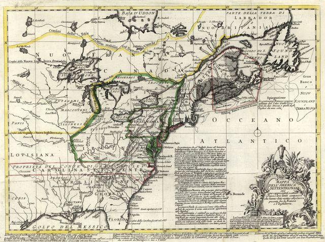 Mappa dell' America Settentrionale : ove sono rappresentati esattam. i paesi e loro limiti controversi che hanno dato motivo alla guerra presente fra la Francia e l'Inghilterra.