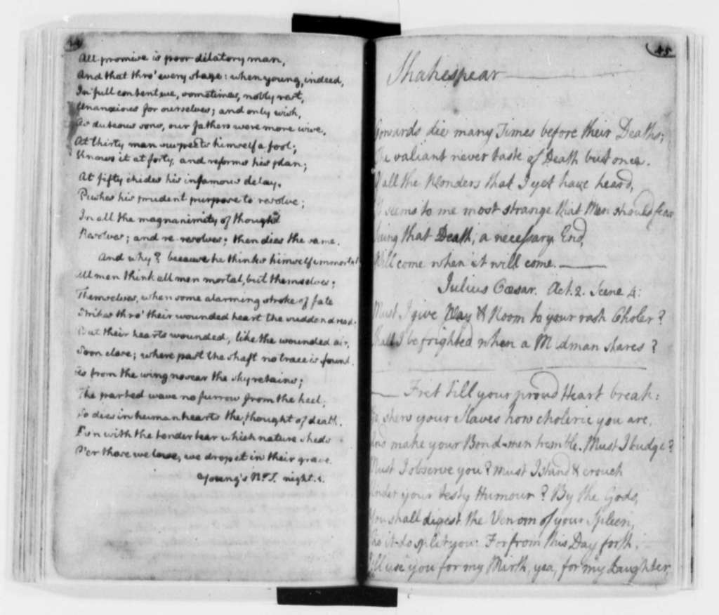 Thomas Jefferson, 1758-1772, Literary Commonplace Book