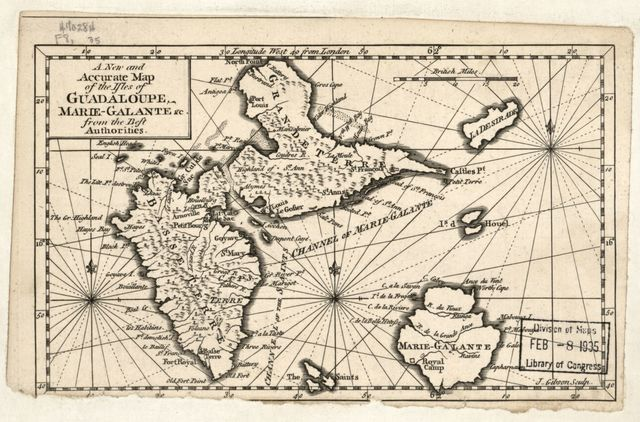 A new and accurate map of the isles of Guadaloupe, Marie-Galante &c. from the best authorities /