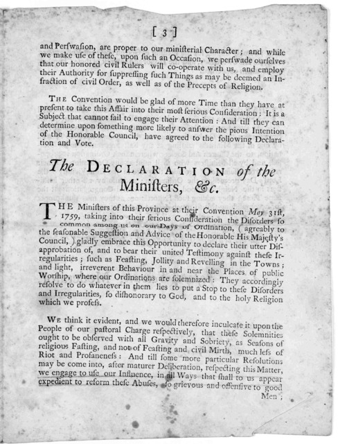 A resolve of the Honorable His Majesty's Council of the Province of the Massachusetts-Bay, relating to the disorders on the days of ordination of ministers; --- with the proceedings of the Convention of ministers thereupon. Province of the Massa