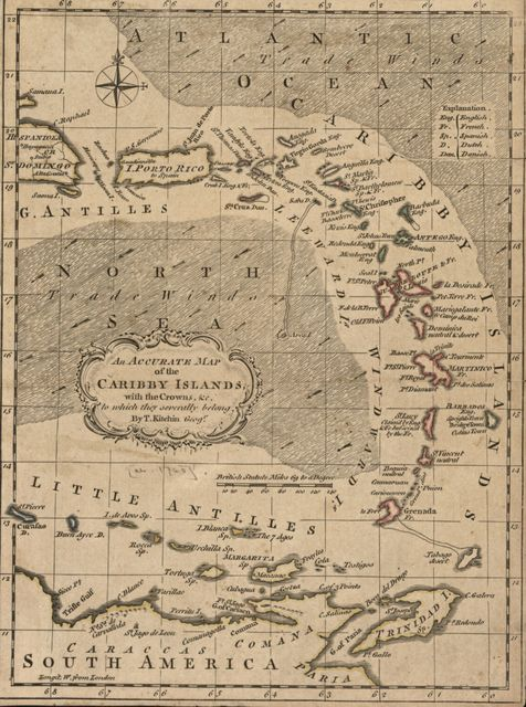 An accurate map of the Caribby Islands with the crowns &c. to which they severally belong /