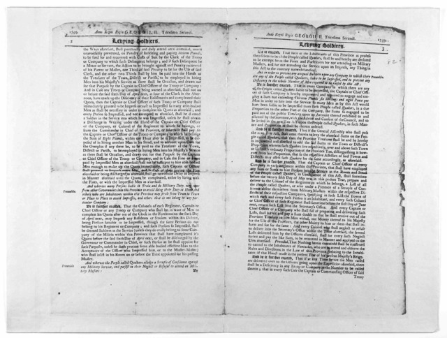 Anno Regni Regii Georgii II. Tricesimo secundi. Levying soldiers. An act passed by the great and General court or Assembly of His Majesty's Province of the Massachusetts-Bay in New-England: begun and held at Boston, upon Wennesday, the thirty-fi