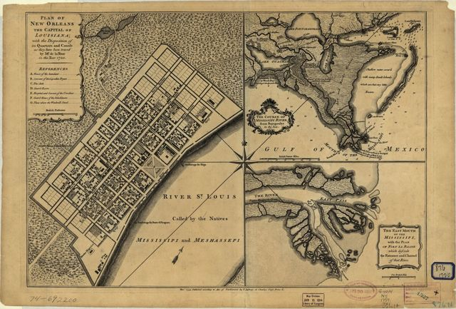 Plan of New Orleans the capital of Louisiana; with the disposition of its quarters and canals as they have been traced by Mr. de la Tour in the year 1720.