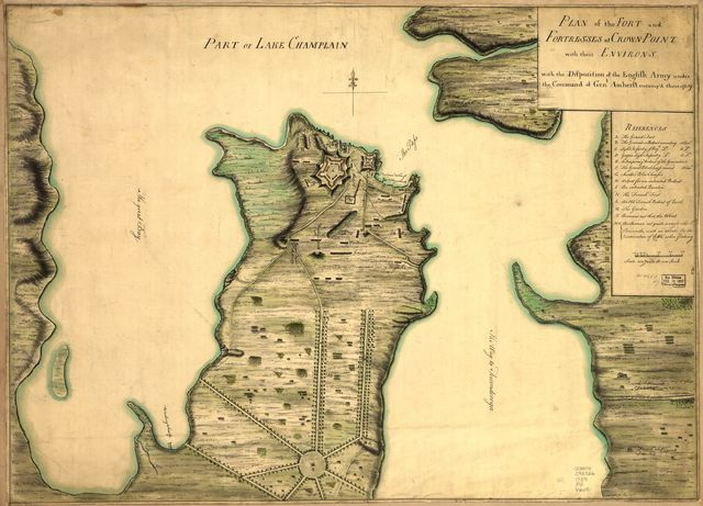 Plan of the fort and fortress at Crown Point with their environs. With the disposition of the English Army under the command of Genl. Amherst encamp'd there 1759.