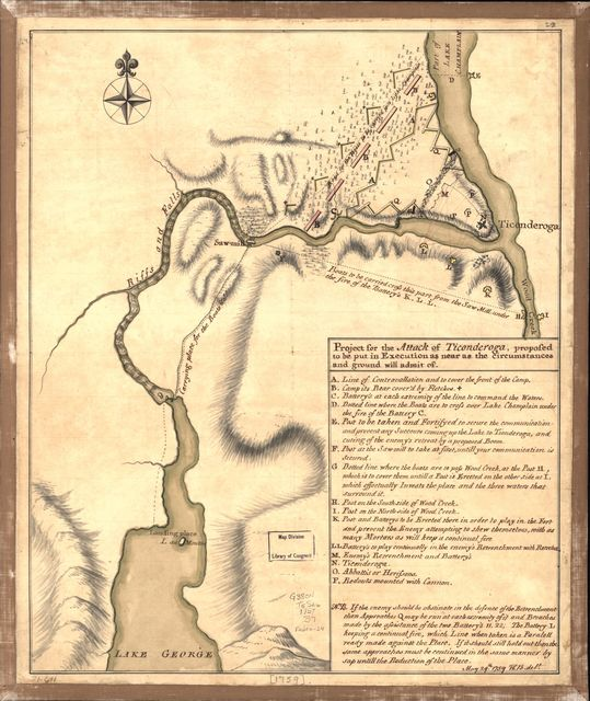 Project for the attack of Ticonderoga, proposed to be put in execution as near as the circumstances and ground will admit of. May 29th. 1759.