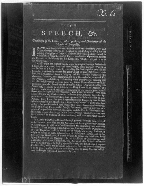The Speech, &c. Gentlemen of the Council, Mr. Speaker, and Gentlemen of the House of Burgesses. [March 5th, 1759] [Williamsburg, 1759] [Negative Photostat.].