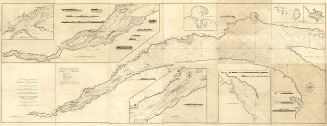 A new chart of the river St. Laurence, from the island of Anticosti to the falls of Richelieu: With all the islands, rocks, shoals, and soundings, also particular directions for navigating the river with safety. Taken by the order of Charles Saunders, Esqr. ... in the expedition against Quebec in 1759.