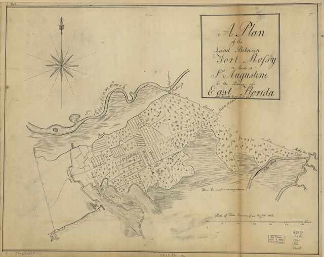 A plan of the land between Fort Mossy and St. Augustine in the province of East Florida.