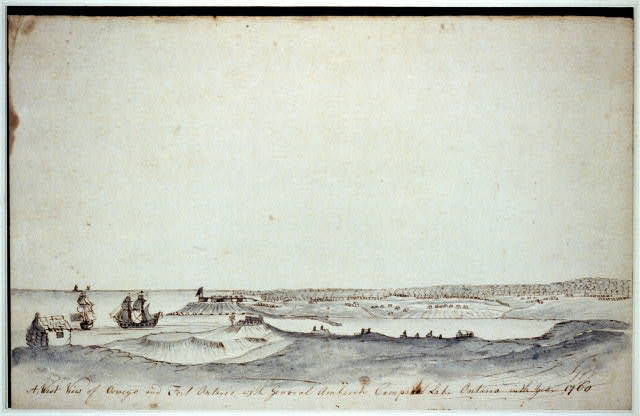 A west view of Oswego and Fort Ontario with General Amherst's camp at Lake Ontario in the year 1760