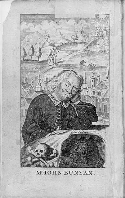"[Frontis., John Bunyan, head and shoulders portrait, sleeping - in background is his dream of the ""Pilgrim's Progress""]"
