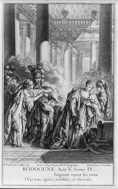 [Frontis, showing Act V, scene IV of Rodogune]
