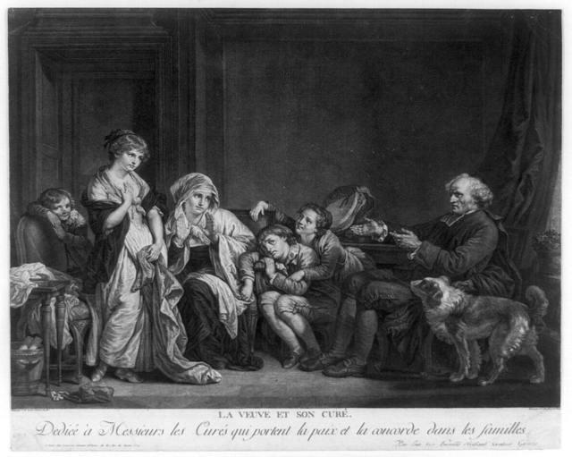 La Veuve et son Curé Dedieé à Messieurs les Curés qui portent la paix et la concorde dans les familles / / Peint par J.B. Greuze ... ; Gravé par J.C. Levasseur.