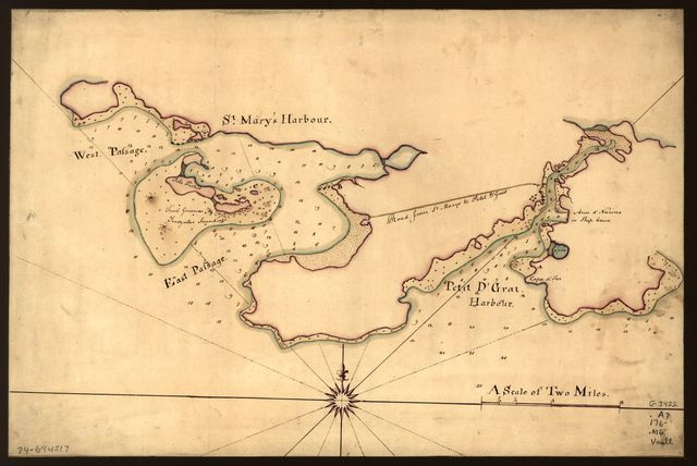 [Map of St. Mary's and Petit d'Grat Harbour.]
