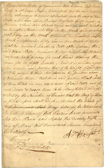 Memorandum of an agreement between Evan Shelby and Adam Hoops
