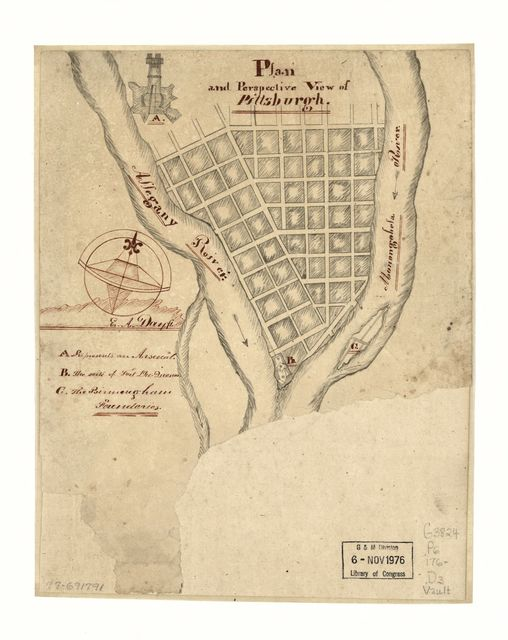 Plan and perspective view of Pittsburgh.