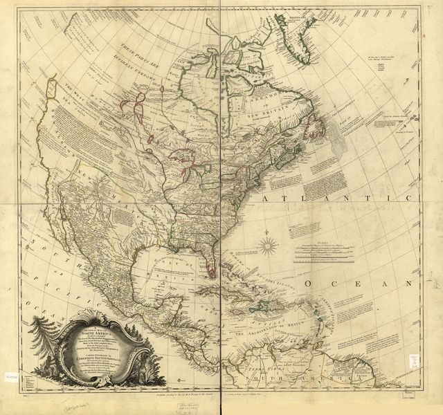 A general map of North America; in which is express'd the several new roads, forts, engagements, &c. taken from actual surveys and observations made in the army employ'd there, from the year 1754, to 1761: