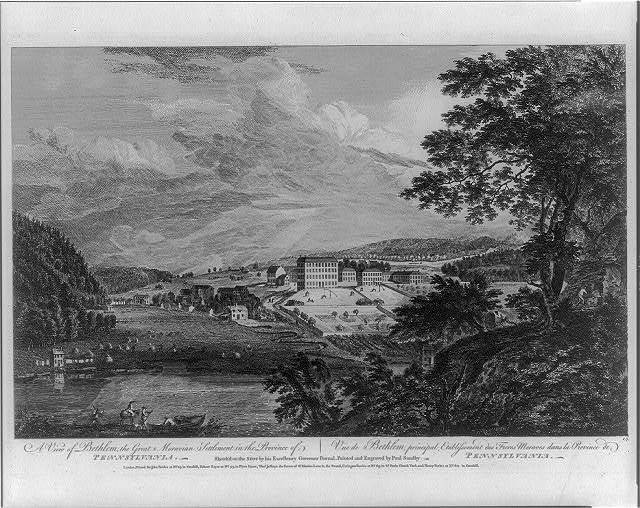 A view of Bethlem, the great Moravian settlement in the province of Pennsylvania Vue de Bethlem, principal etablissement des Freres Moraves dans la province de Pennsylvania / / sketch'd on the spot by his excellency, Governor Pownal ; painted & engraved by Paul Sandby.
