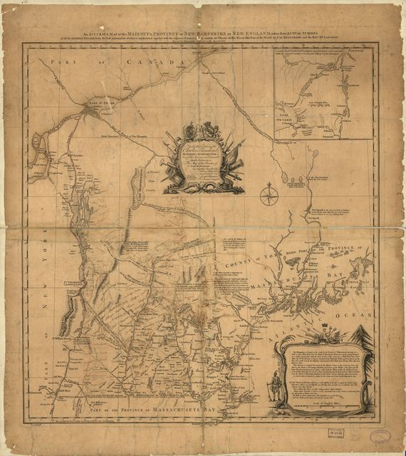 An accurate map of His Majesty's Province of New-Hampshire in New England, taken from actual surveys of all the inhabited part, and from the best information of what is uninhabited, together with the adjacent countries, which exhibits the theatre of this war in that part of the world,