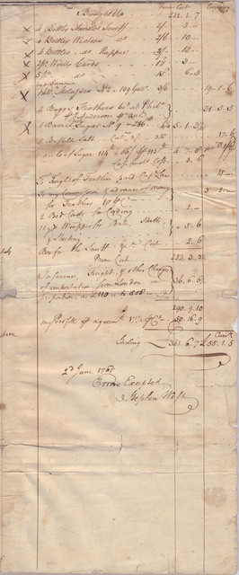 Invoice of trade goods sent by Stephen West to Evan Shelby, Conecocheig[e], Maryland
