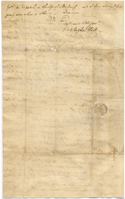 Letter from Stephen West to Evan Shelby, Conecocheig[e], Maryland