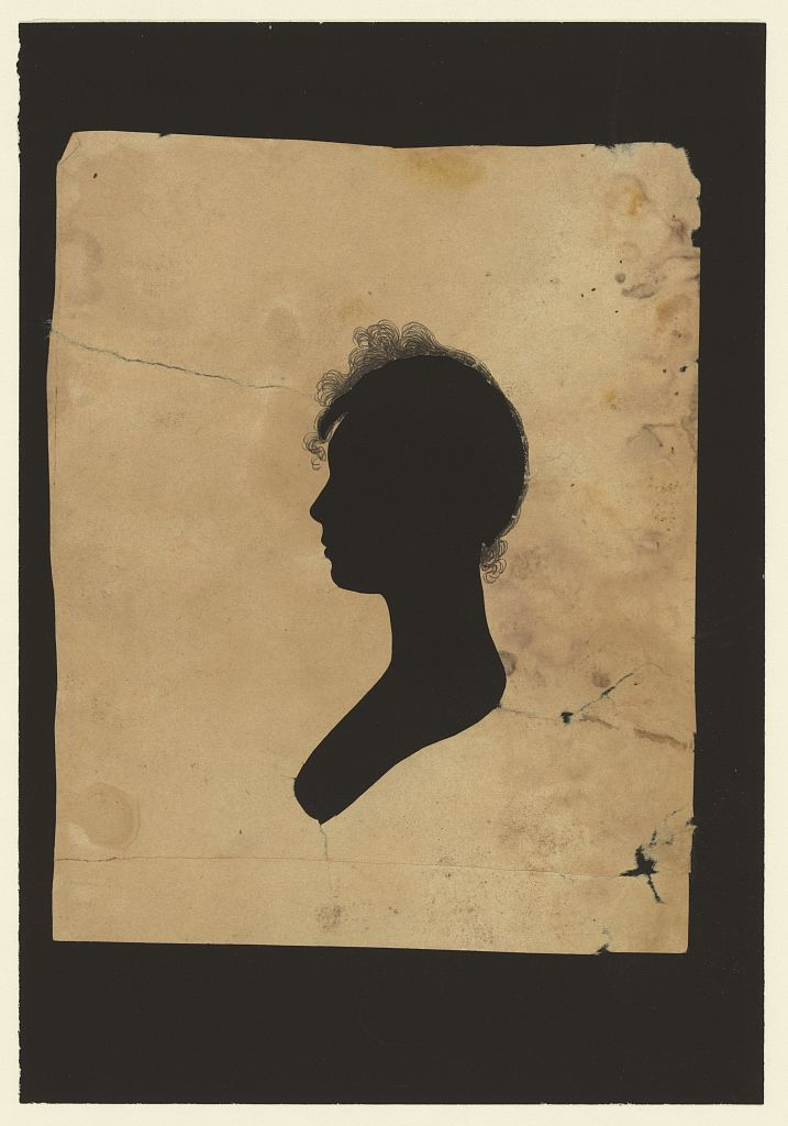 [Silhouette of woman facing left, no. 1]