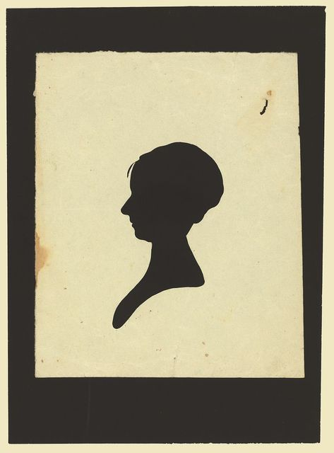 [Silhouette of woman facing left, no. 2]