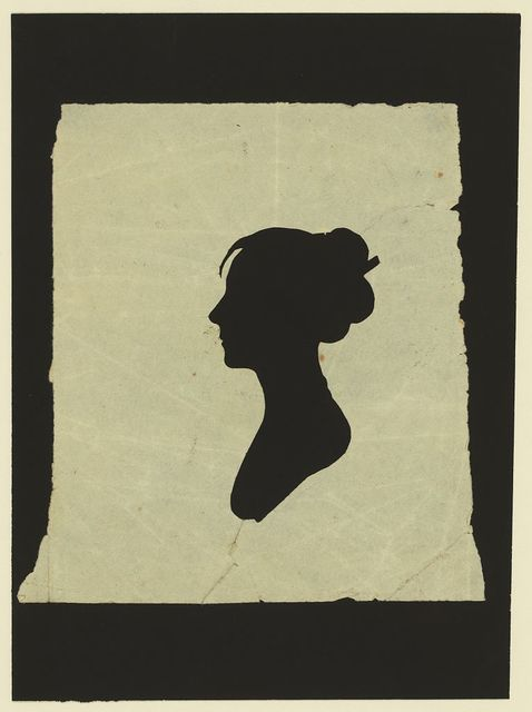 [Silhouette of woman facing left, no. 4]