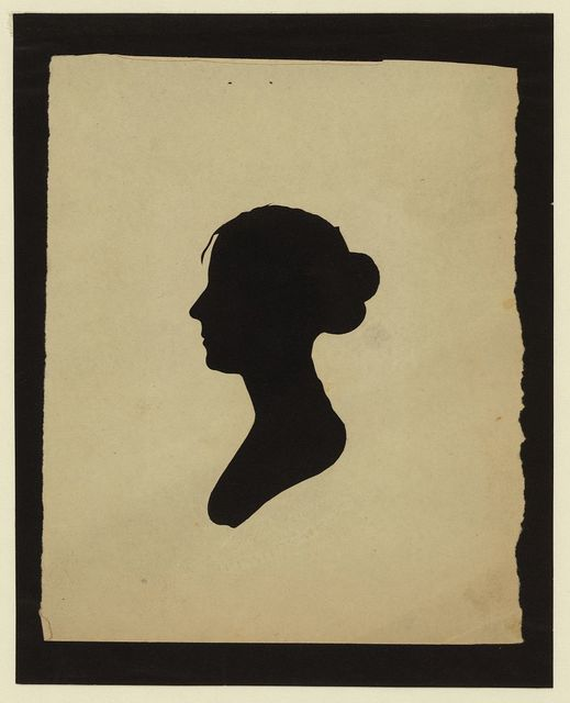 [Silhouette of woman facing left, no. 5]