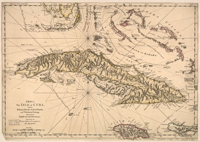 A map of the isle of Cuba, with the Bahama Islands, Gulf of Florida, and Windward Passage: Drawn from English and Spanish surveys.