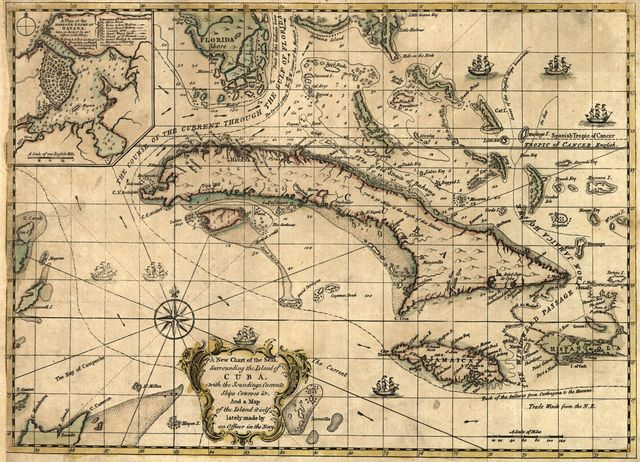 A new chart of the seas surrounding the island of Cuba with the soundings, currents, ships, courses &c. and a map of the island itself lately made by an officer in the Navy.
