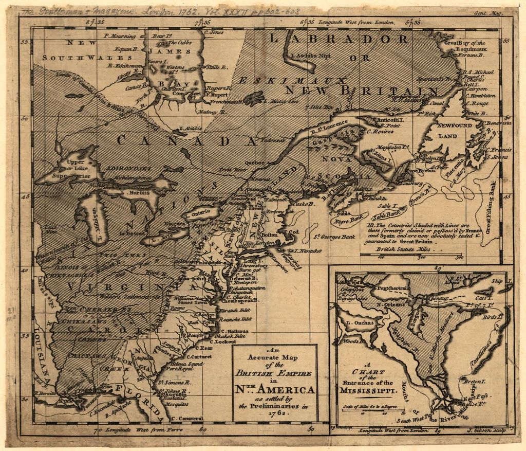An accurate map of the British Empire in Nth. America as settled by the Preliminaries in 1762 /
