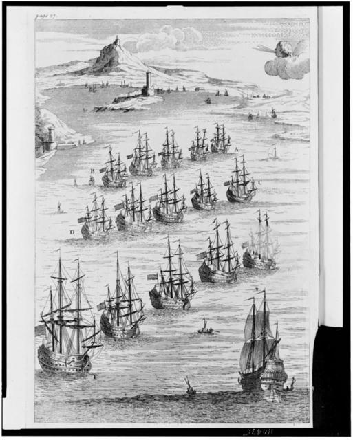 [Battleships performing naval maneuvers in the 18th century]